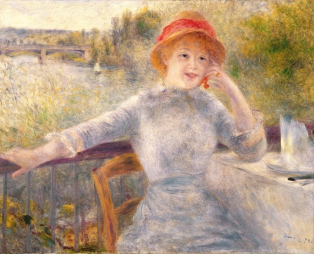 Detail of Alphonsine Fournaise at The Grenouillere by Pierre Auguste Renoir