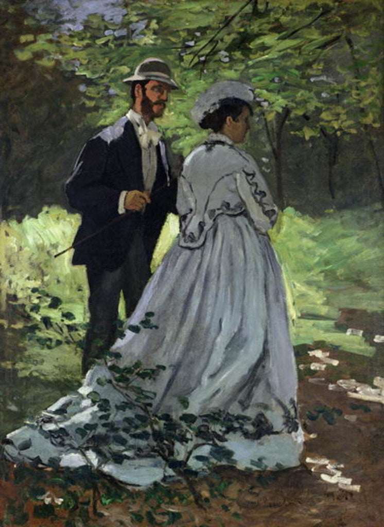 Detail of The Promenaders, or Claude Monet Bazille and Camille by Claude Monet