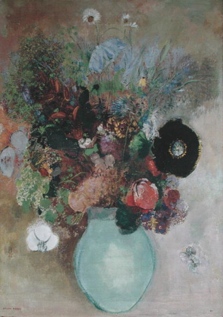 Detail of Flowers in a Green Vase by Odilon Redon
