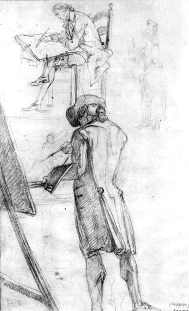 Detail of Artist at his Easel and the Artist Drawing by Gabriel de Saint-Aubin