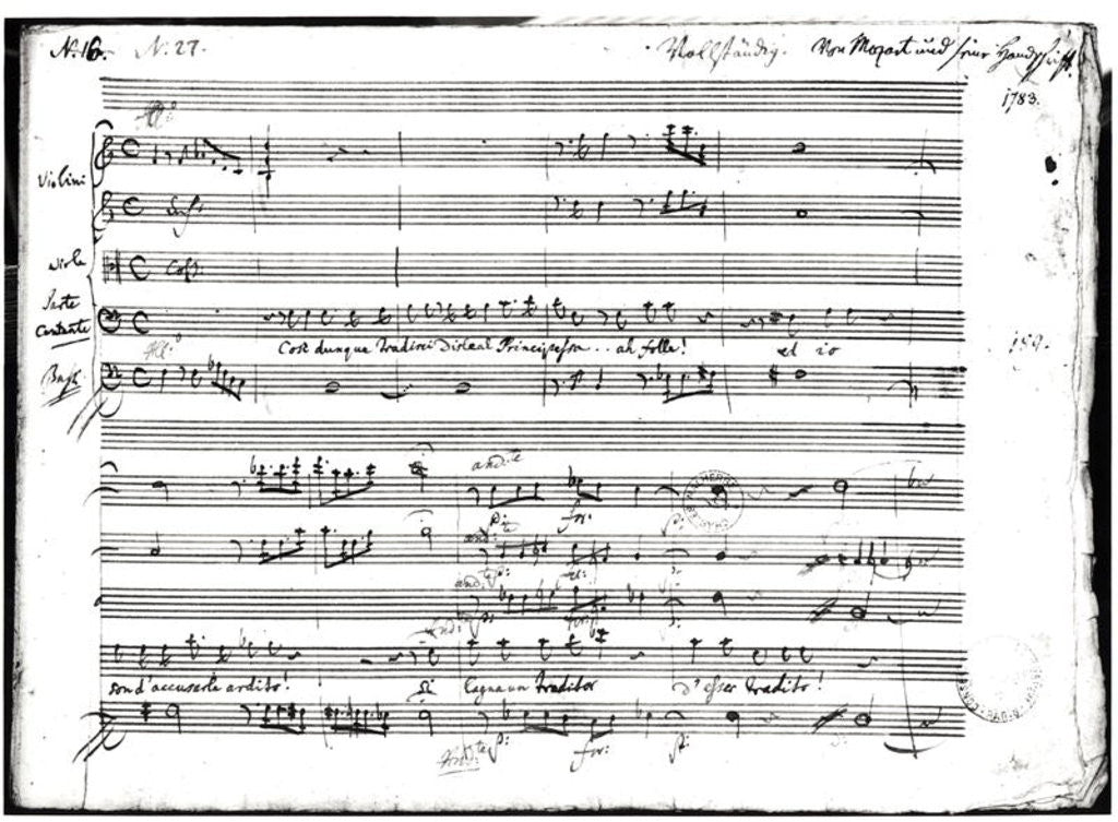 Detail of 'Cosi Dunque Tradisci...', recitative and aria by Wolfgang Amadeus Mozart