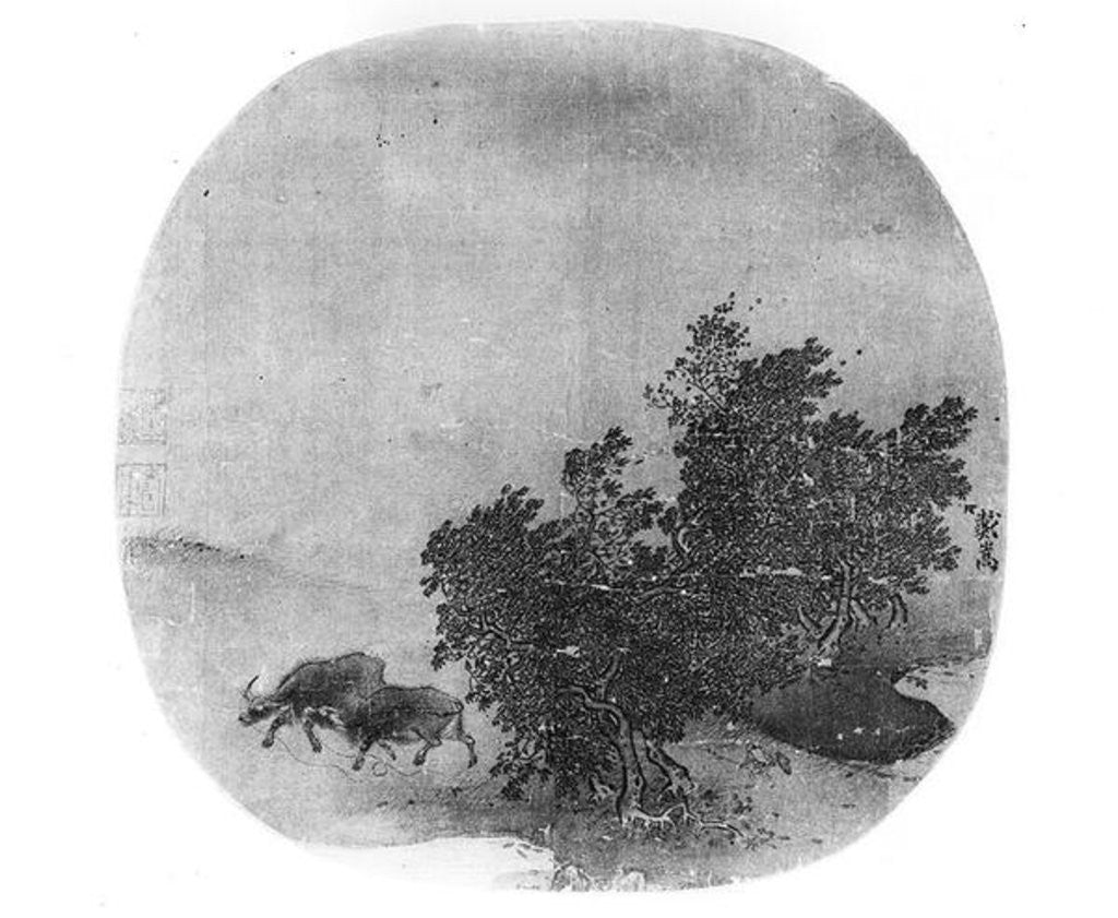 Detail of Landscape with water buffalo, Song Dynasty by Chinese School