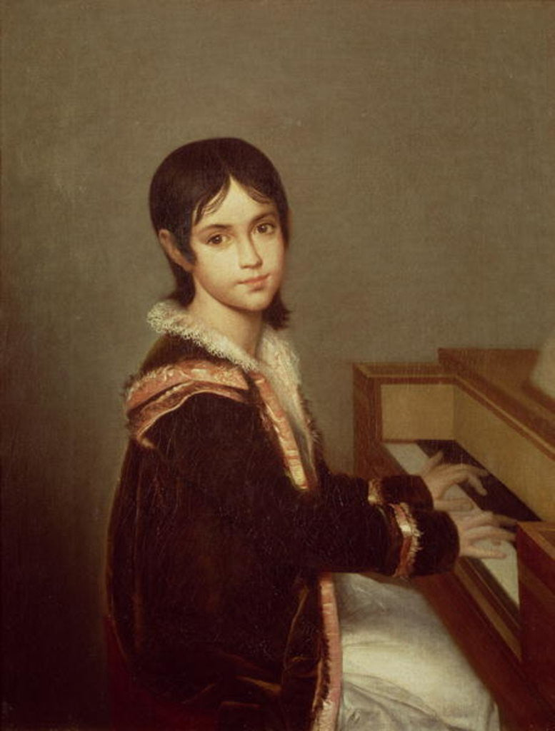 Detail of The Artist's Daughter at the Piano by Domingos Antonio de Sequeira