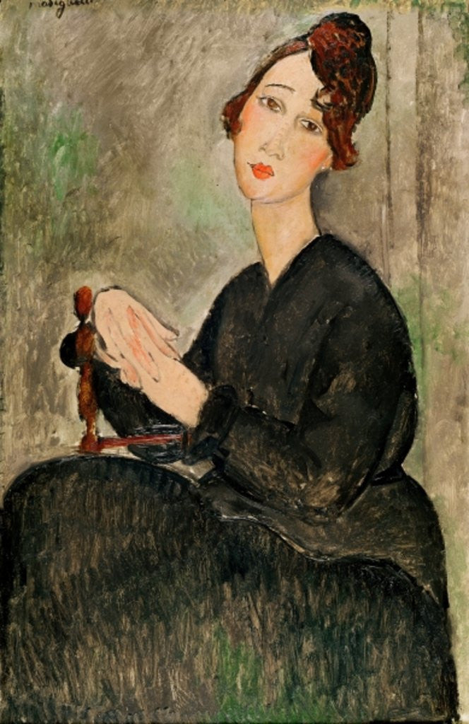 Detail of Portrait of Dedie Hayden by Amedeo Modigliani