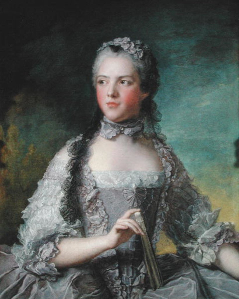 Detail of Portrait of Adelaide de France with a Fan by Jean-Marc Nattier