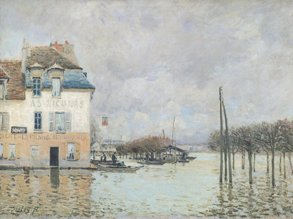 Detail of The Flood at Port-Marly by Alfred Sisley