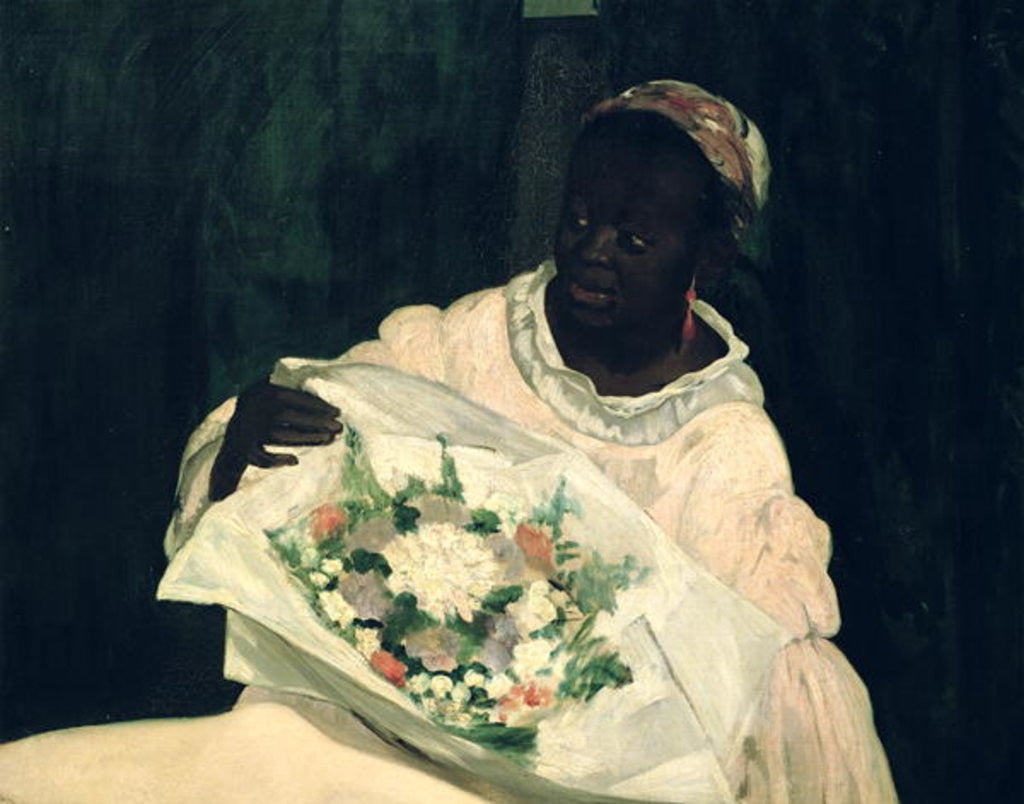 Detail of Olympia, detail of the black servant by Edouard Manet