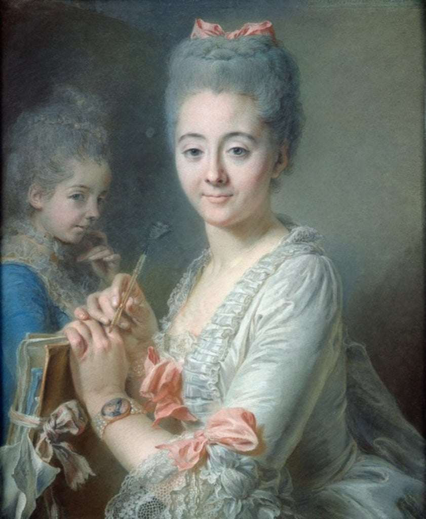 Detail of Madame Theodore Lacroix Drawing a Portrait of her Daughter, Suzanne Felicite by Jean Valade