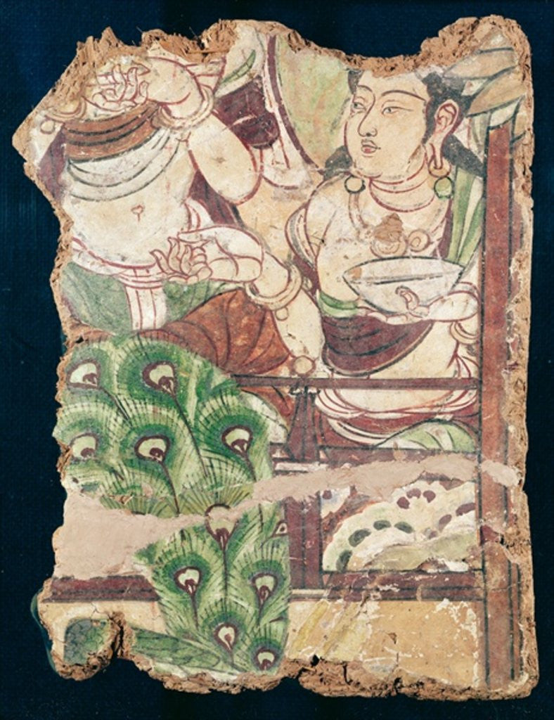 Detail of Fragment depicting a Buddhist paradise by Chinese School