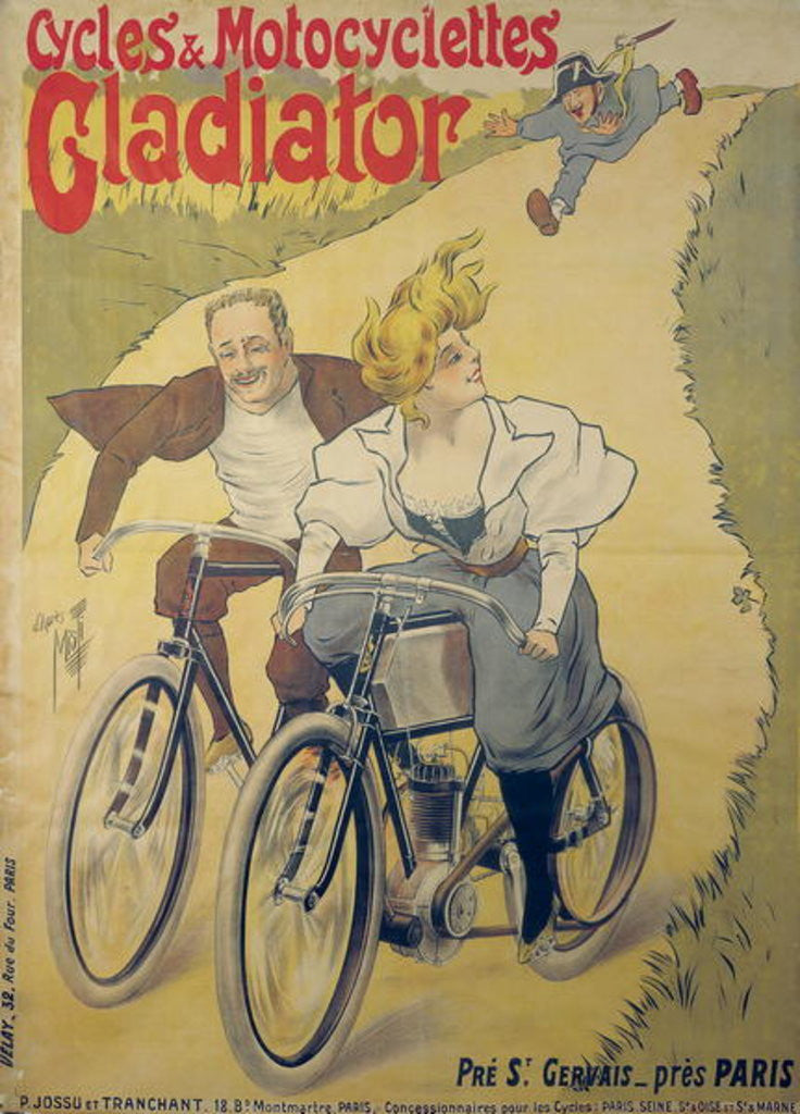 Detail of Poster advertising Gladiator bicycles and motorcycles by Ferdinand Misti-Mifliez