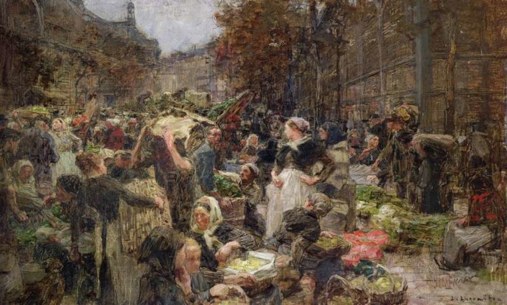 Detail of Les Halles, study for a painting for the Salon des Lettres at the Hotel de Ville, Paris by Leon Augustin Lhermitte