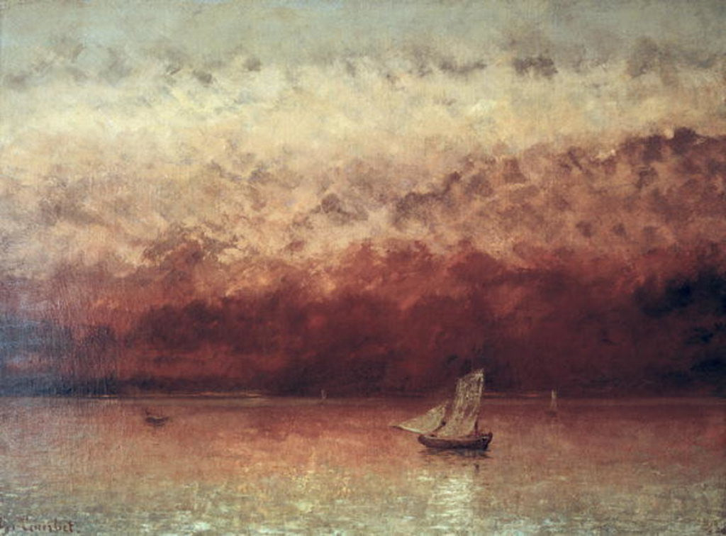 Detail of Lake Leman with Setting Sun by Gustave Courbet