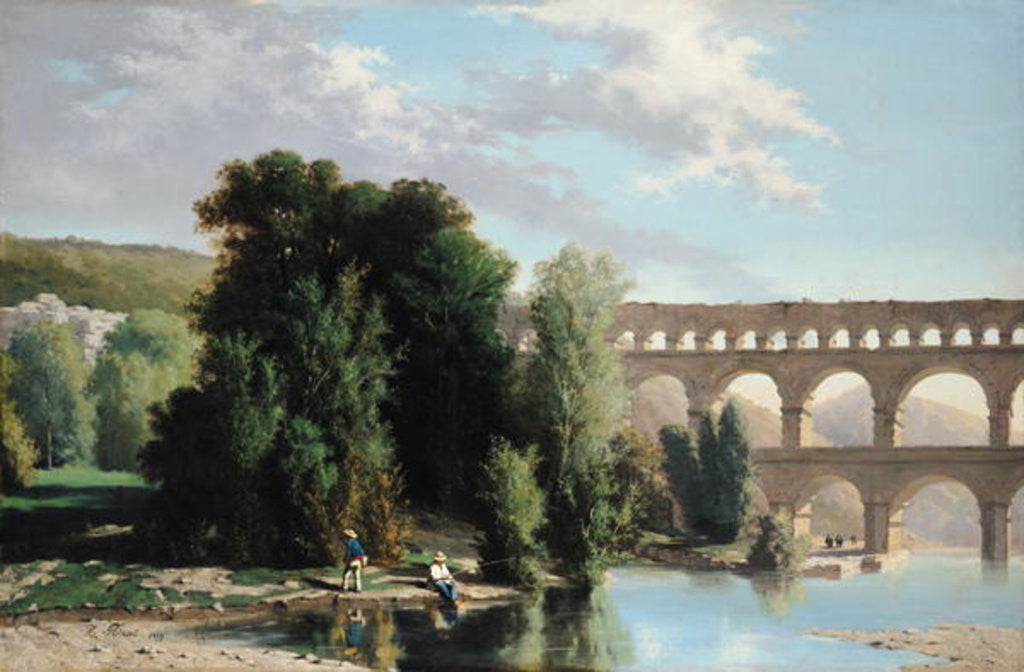 Detail of View of the Pont du Gard by Henri Marie Poinsot