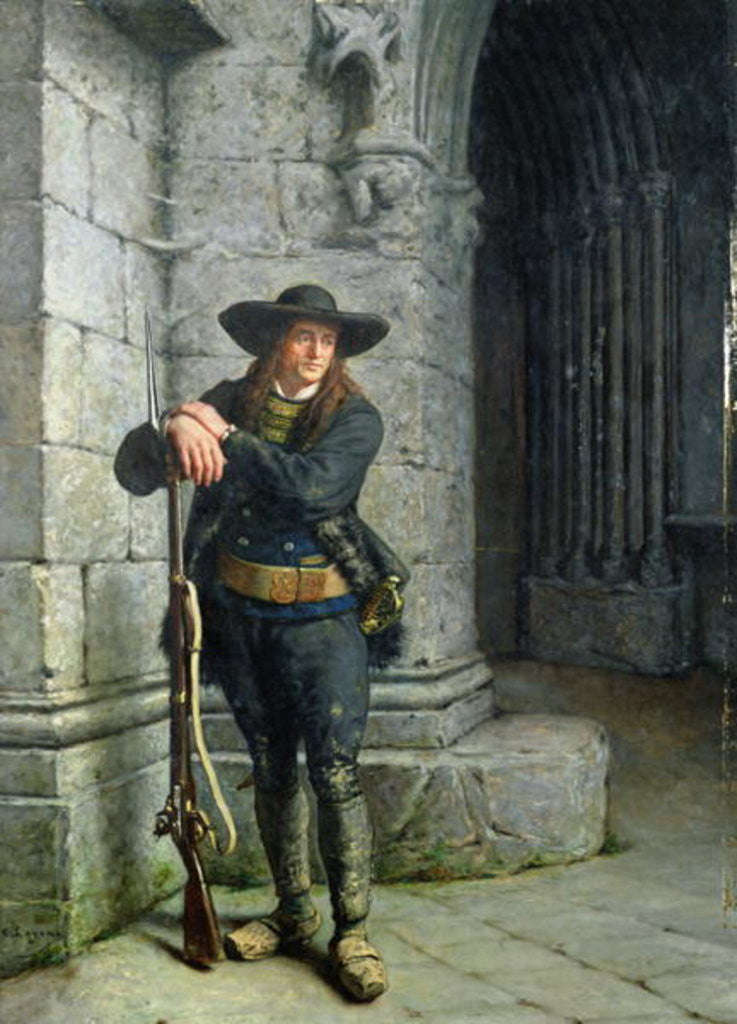 Detail of Armed Breton Guarding a Porch by Charles Loyeux
