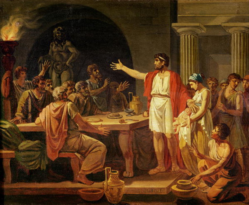 Detail of Study for Lycurgus Showing the Ancients of Sparta their King by Jacques Louis David