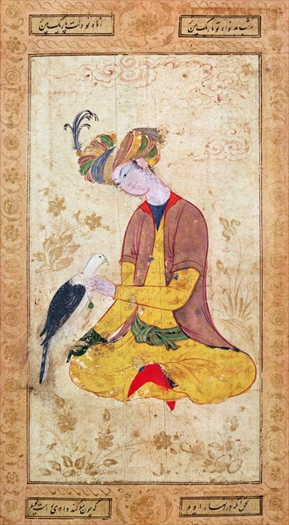 Detail of A Hunter Stroking his Falcon by Persian School