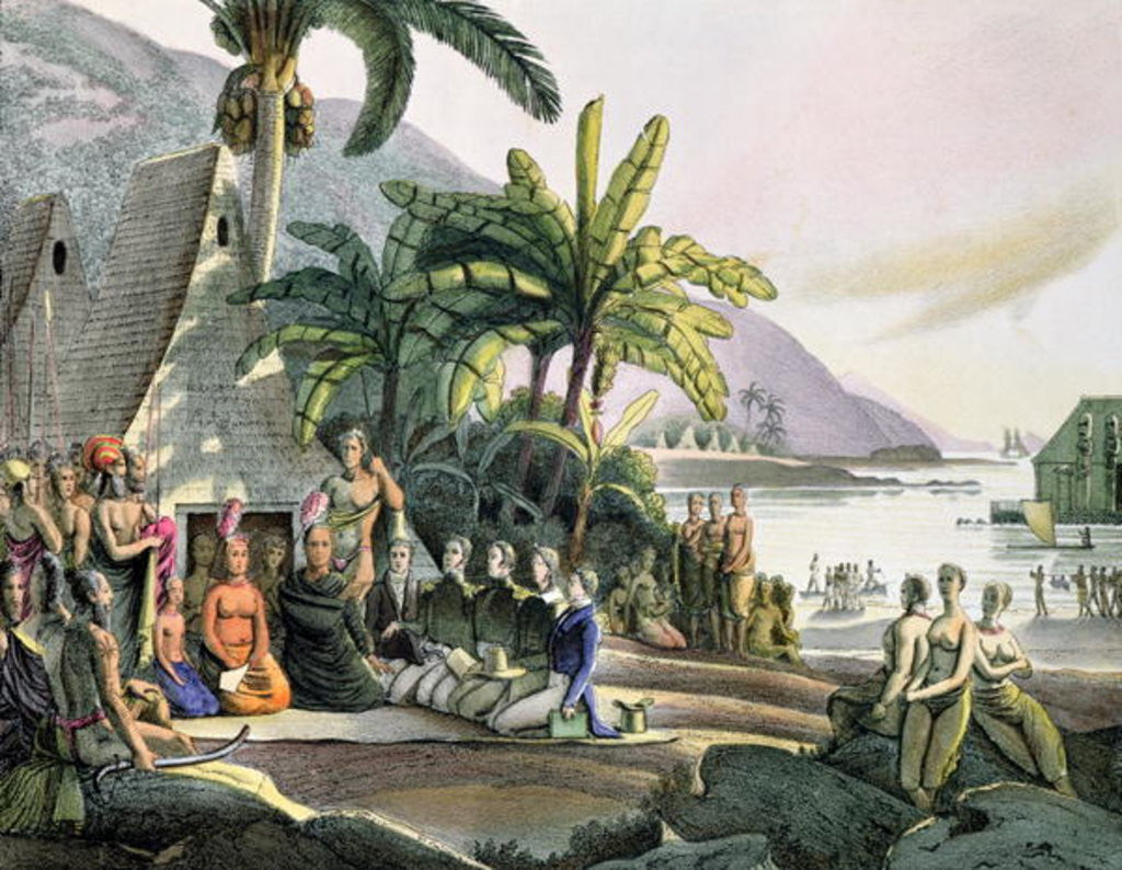 Detail of Meeting between the Expedition Party of Otto von Kotzebue and King Kamehameha I, Ovayhi Island by Ludwig Choris