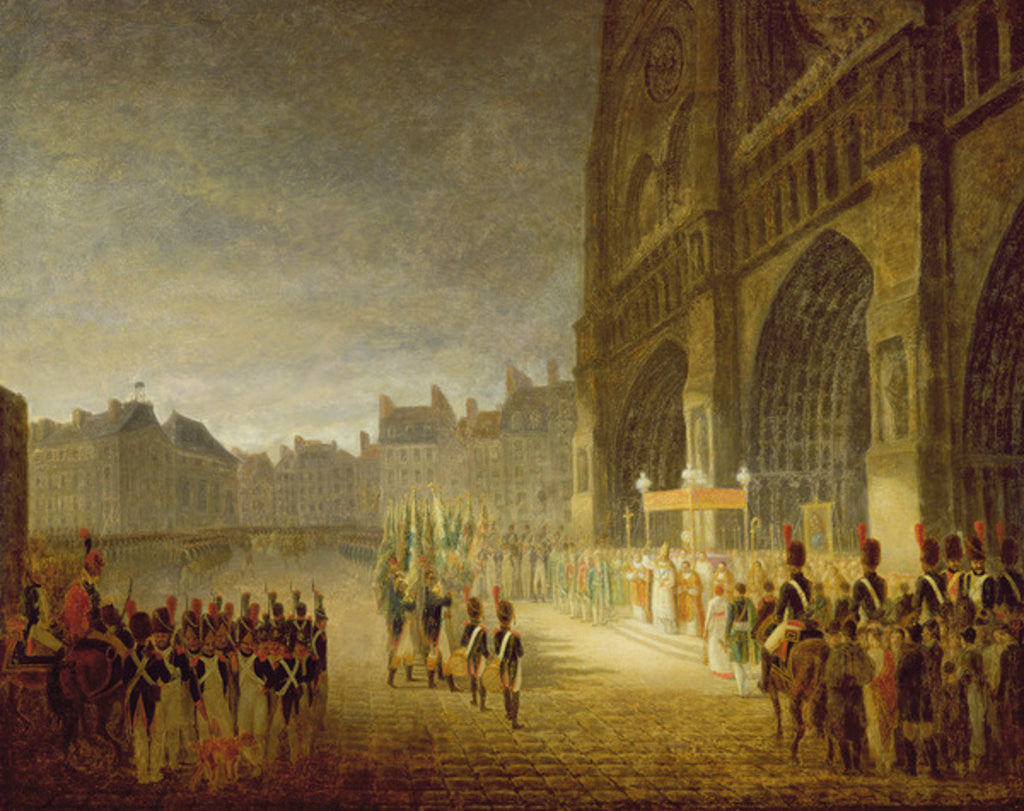 Detail of Blessing of the Flags in Front of Notre-Dame in 1804 by French School