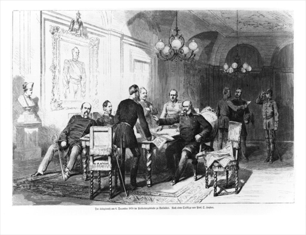 Detail of War council at Versailles Prefecture on 6th December 1870 by German School