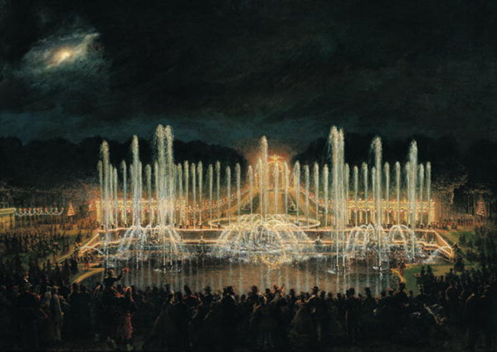 Detail of Illuminated Fountain Display in the Bassin de Neptune in Honour of Prince Francisco de Assisi de Bourbon by Eugene-Louis Lami