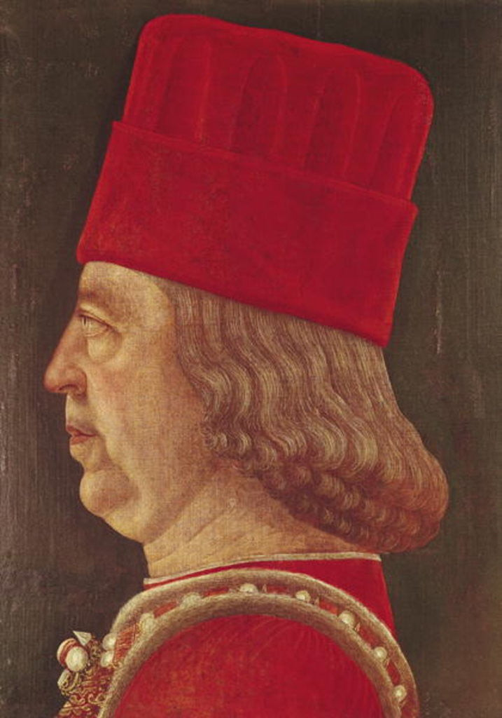 Detail of Portrait of Borso d'Este, Prince of Ferrara by Baldassare d' Este