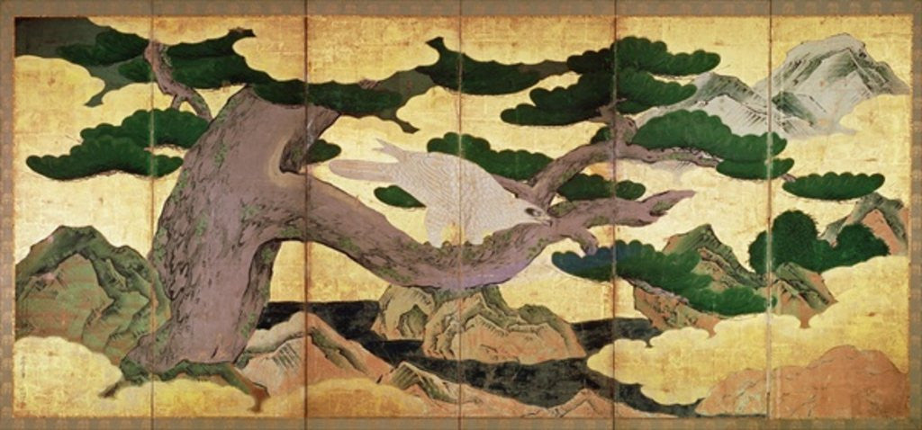 Detail of The Hawks in the Pines, 6 panel folding screen by Kano Eitoku
