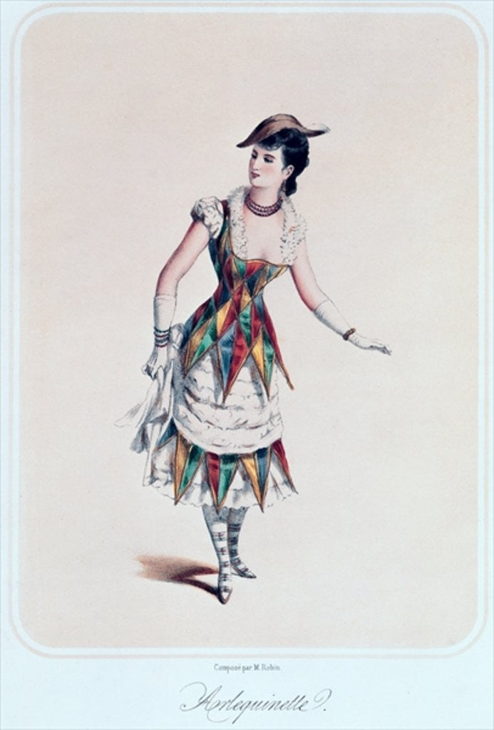 Detail of Costume design for a female harlequin by French School