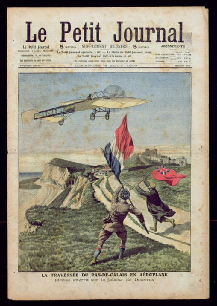Detail of Louis Bleriot landing at Dover by French School