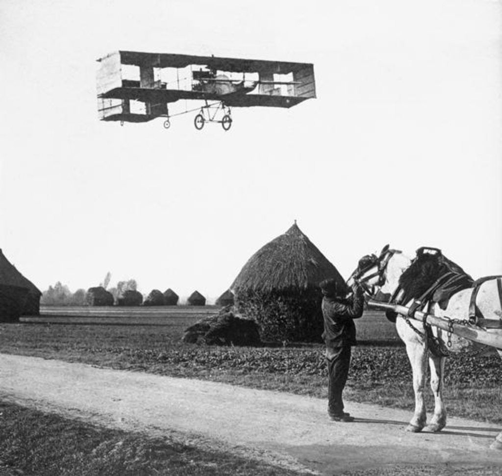 Detail of Flight by Henri Farman from Chalons to Reims by French Photographer