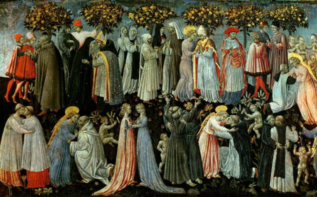 Detail of The Last Judgement, detail of the predella panel depicting Paradise by Giovanni di Paolo di Grazia
