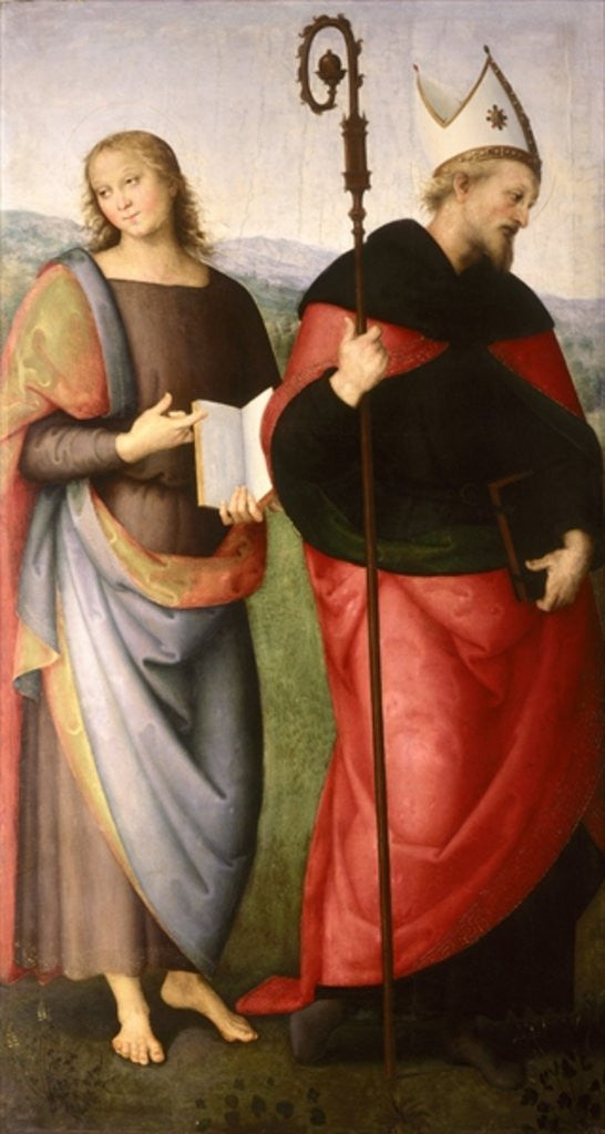 Detail of St. John the Evangelist and St. Augustine of Hippo by Pietro Perugino