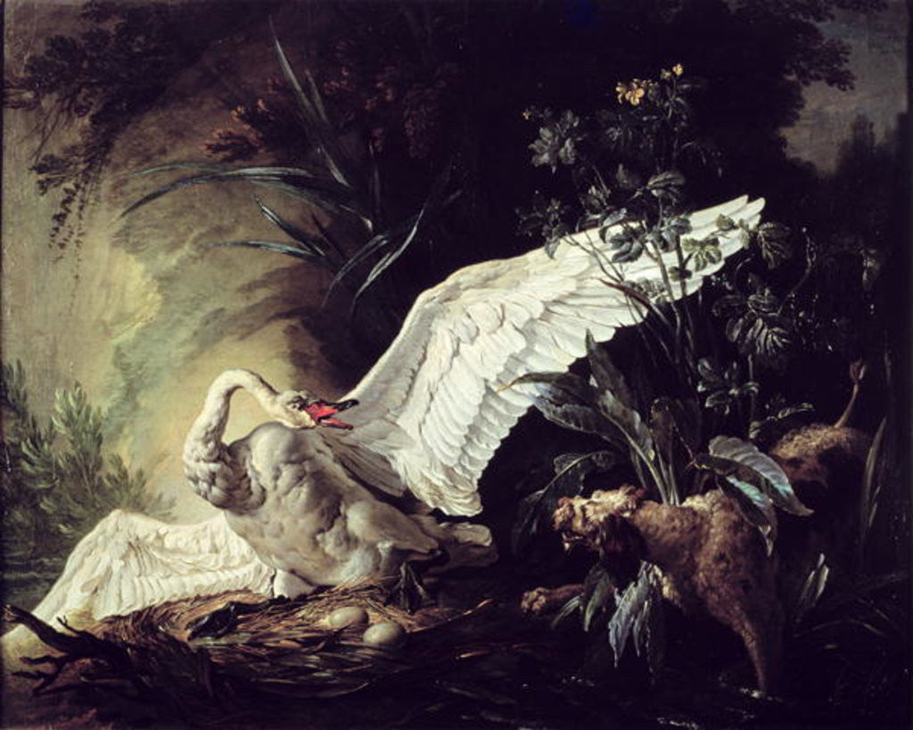 Detail of A Water Spaniel Attacking a Swan on its Nest by Jacques Charles Oudry
