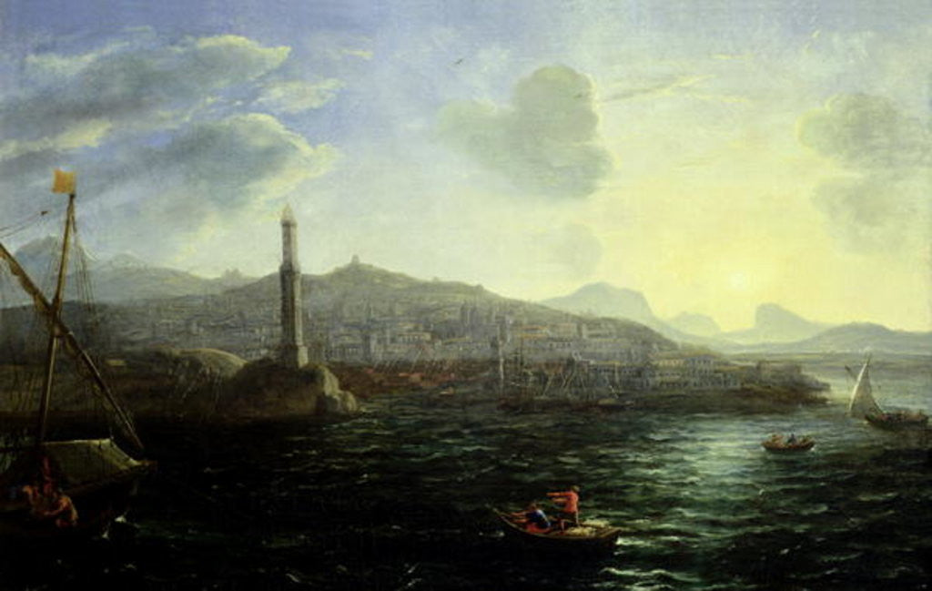 Detail of The Port of Genoa, Sea View by Claude Lorrain