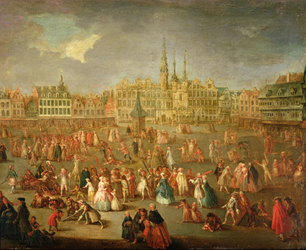 Detail of The Grand Place during Mardi Gras, Cambrai by Antoine Francois Saint-Aubert
