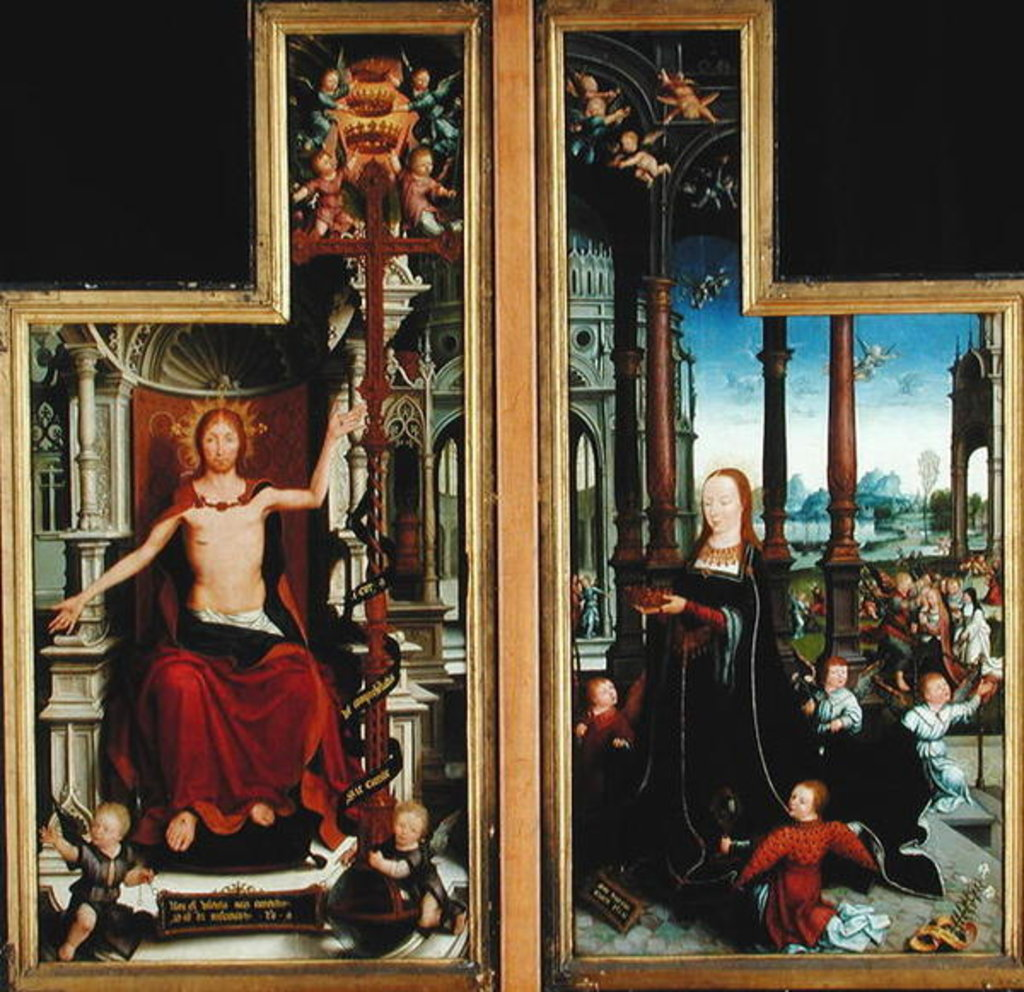 Polyptych of the Glorification of the Holy Trinity, panels depicting Christ Enthroned and the Virgin, 1509-15 by Jean the Elder Bellegambe