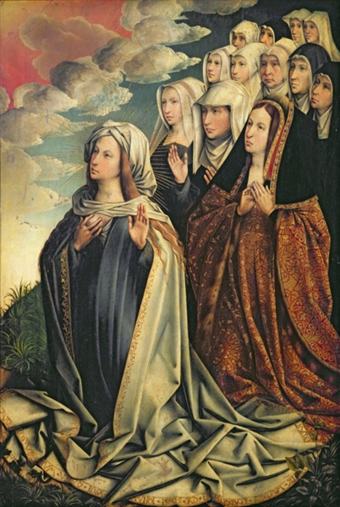Detail of Mary the Mediator with Joanna the Mad and her entourage, right hand panel from an altarpiece by Colijn de Coter