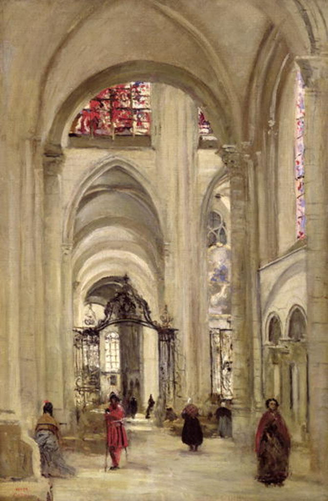 Detail of Interior of the Cathedral of St. Etienne, Sens by Jean Baptiste Camille Corot