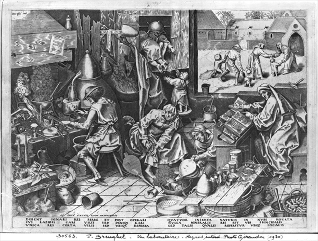 Detail of The Alchemist at work by Pieter Bruegel the Elder