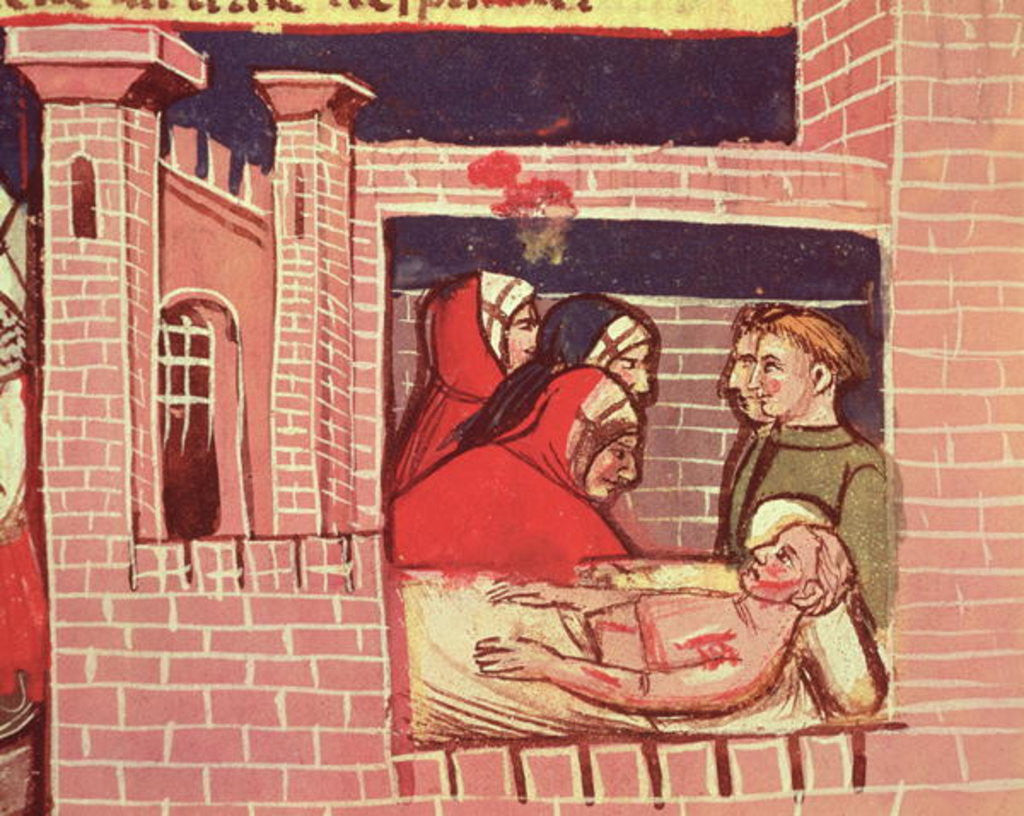 Detail of Caring for an injured man in a castle by Italian School