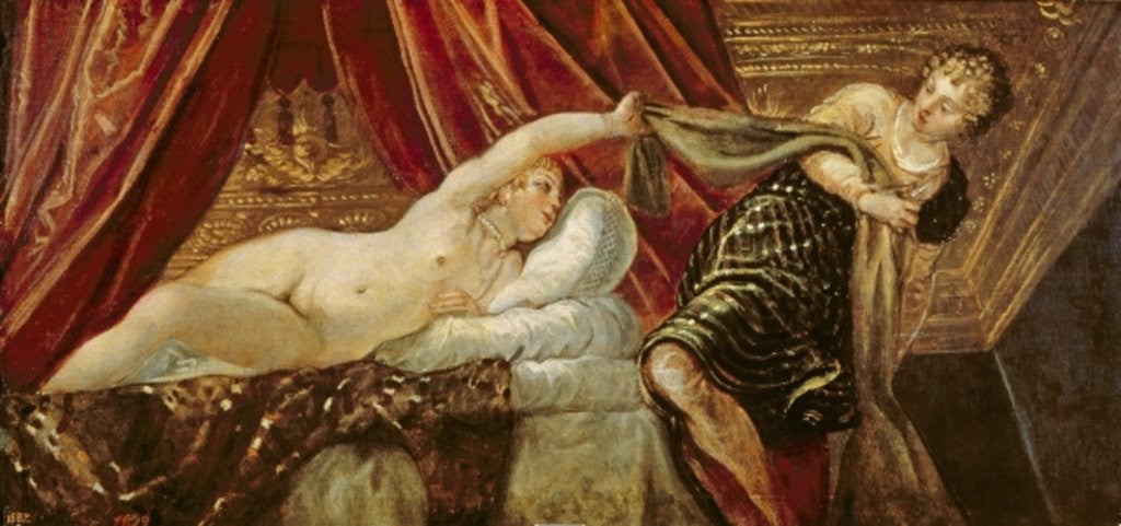 Detail of Joseph and the Wife of Potiphar by Jacopo Robusti Tintoretto