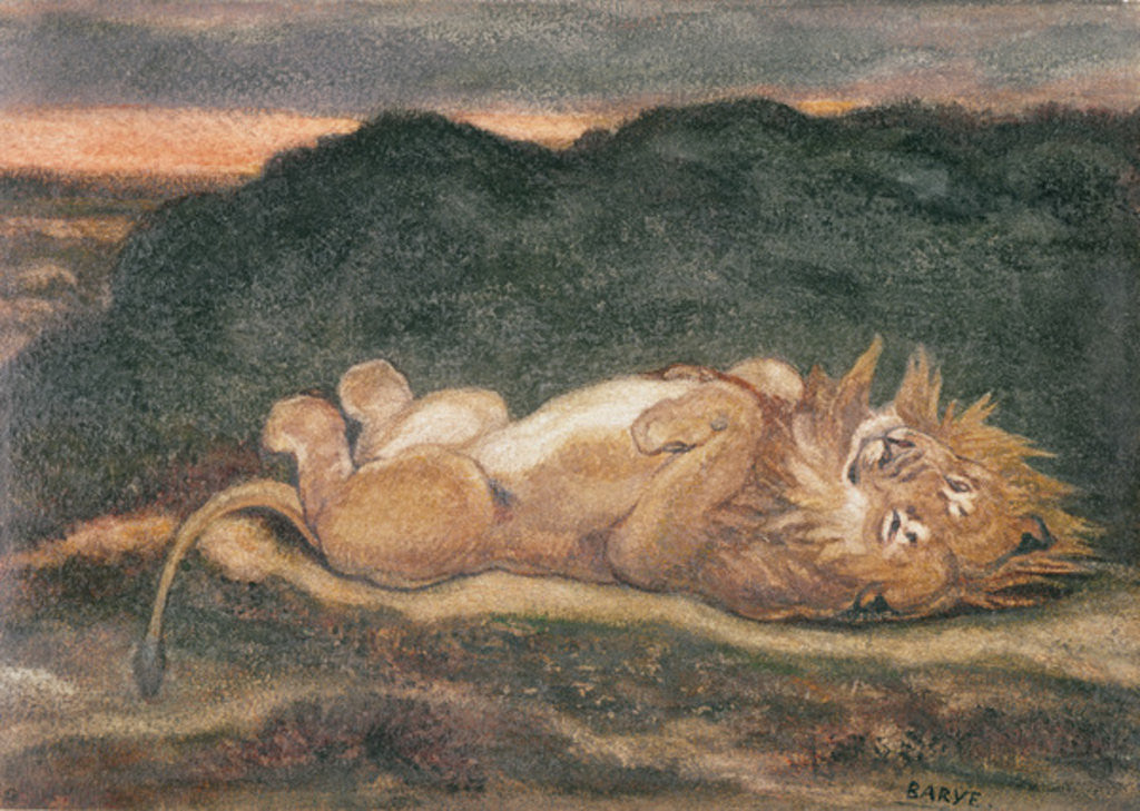 Detail of Lion Resting on his Back by Antoine Louis Barye