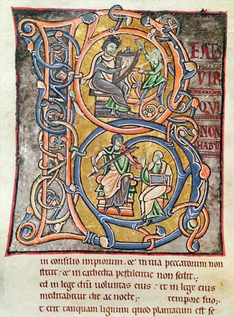 Detail of Historiated initial 'B' depicting King David by French School