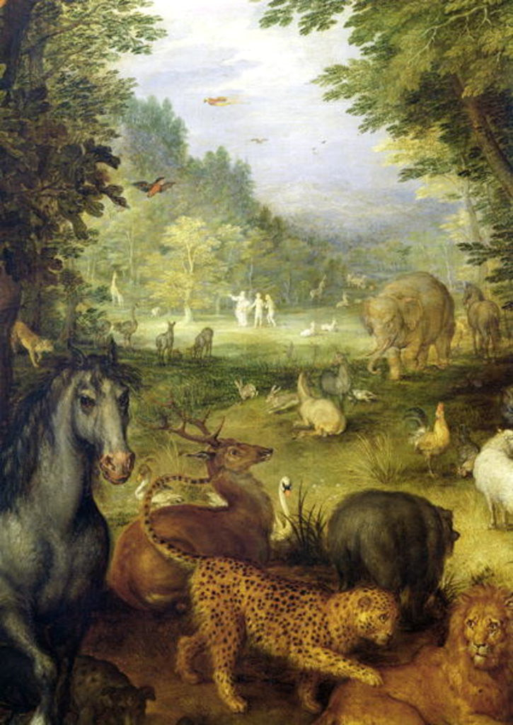 Detail of Earth, or The Earthly Paradise, detail of animals by Jan the Elder Brueghel