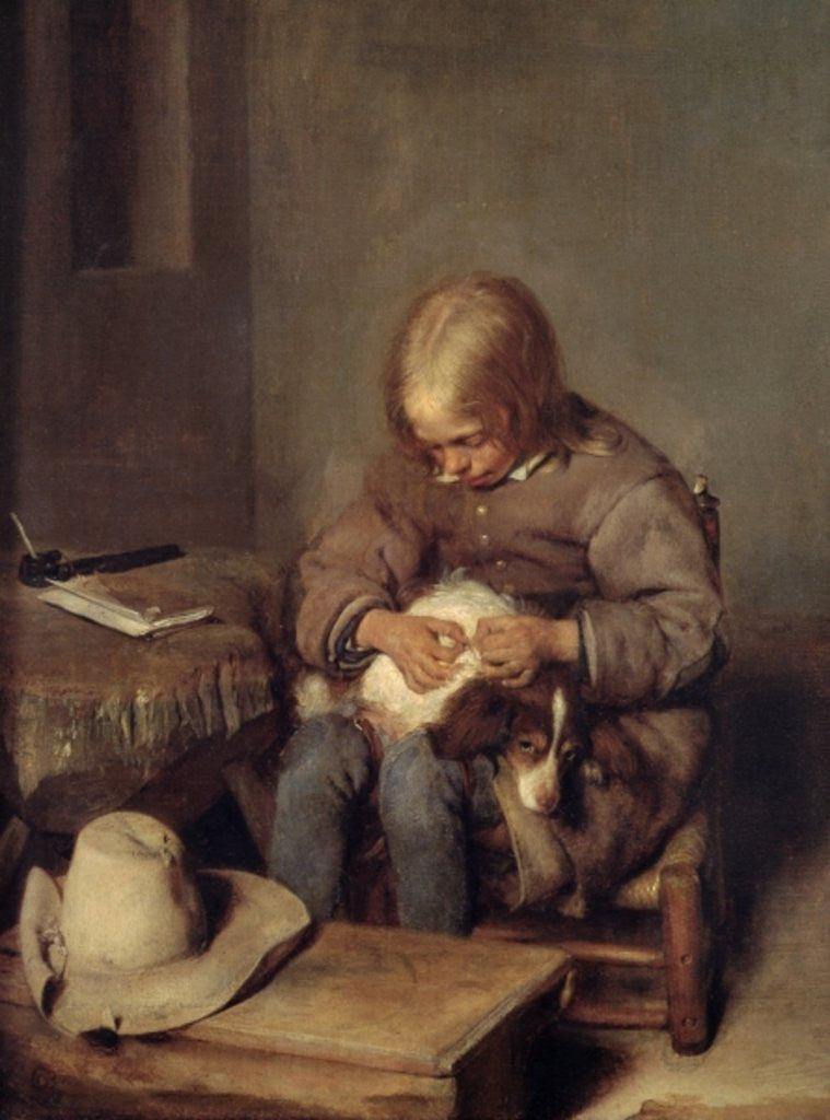 Detail of The Flea-Catcher (Boy with his Dog) by Gerard ter Borch or Terborch