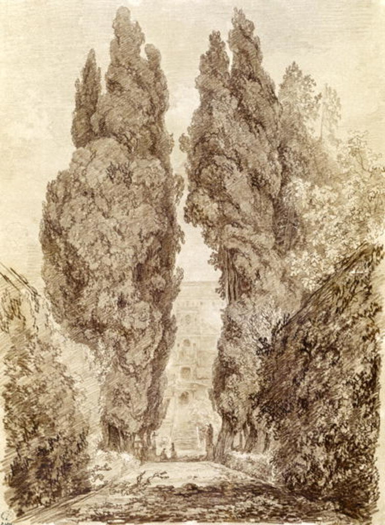 Detail of Large Cypresses at the Villa d'Este by Jean-Honore Fragonard