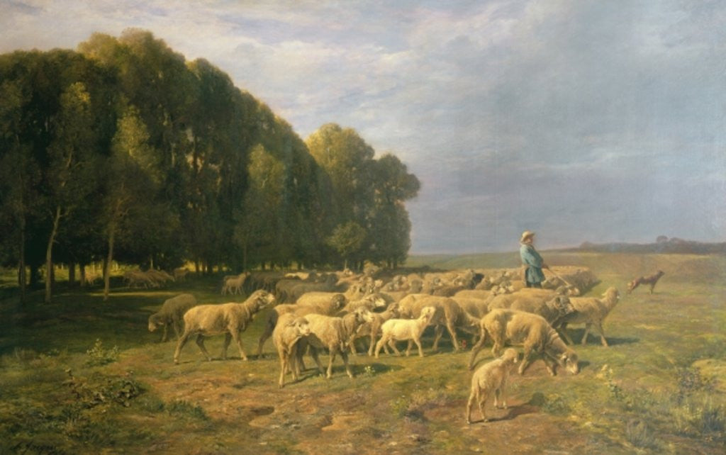 Detail of Flock of Sheep in a Landscape by Charles Emile Jacque
