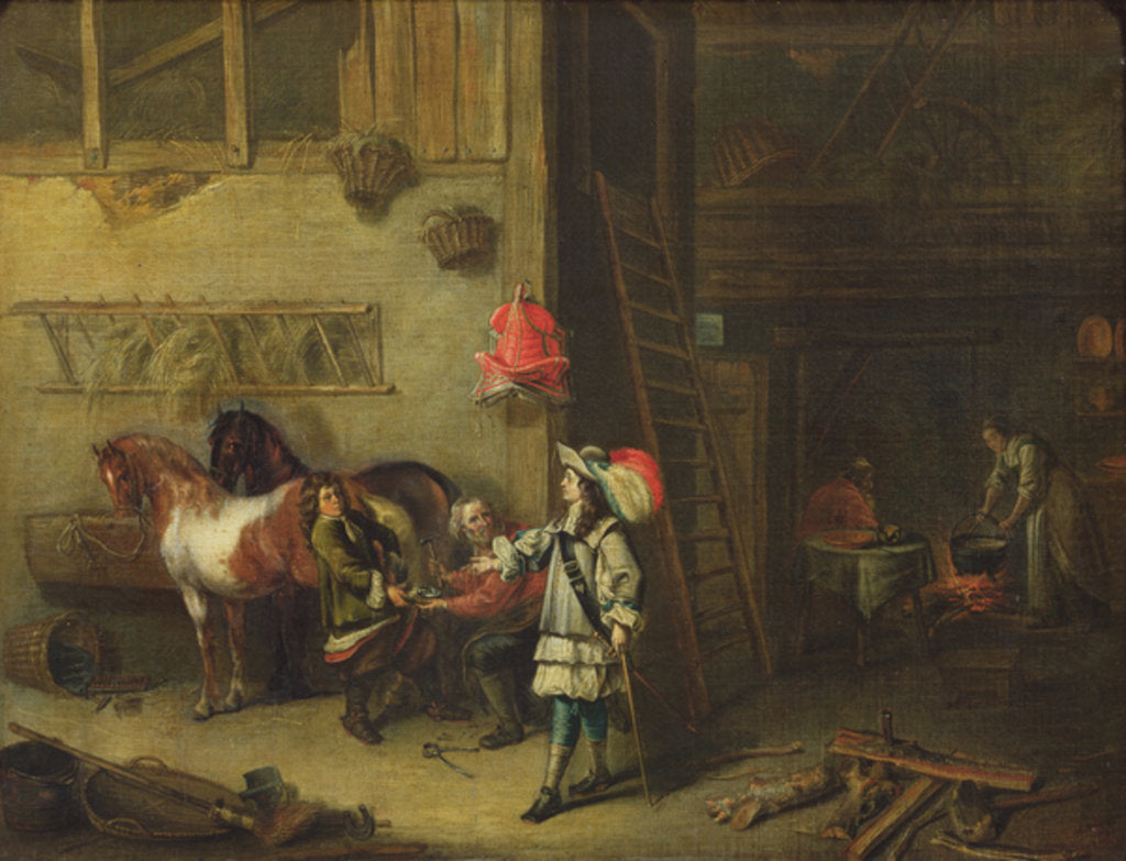 Detail of The Blacksmith by Matheus van Helmont