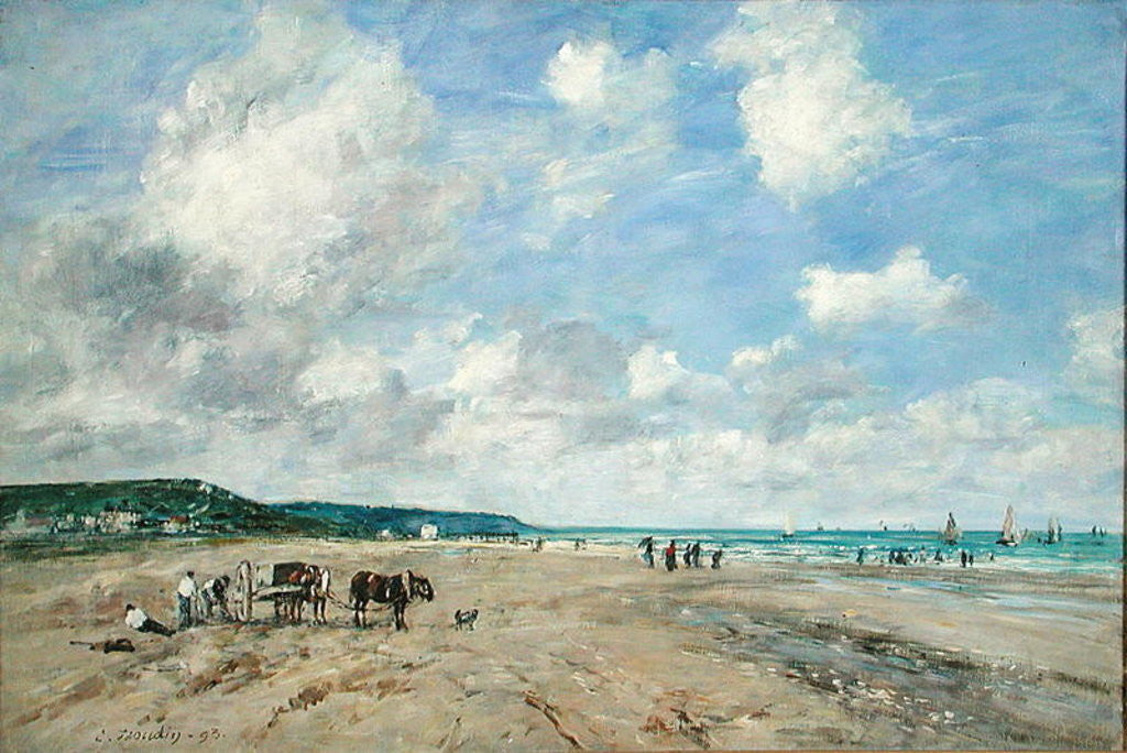 Detail of The Beach at Tourgeville by Eugene Louis Boudin