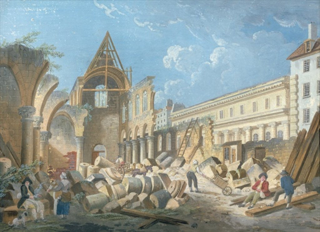 Detail of Demolition of the Couvent des Cordeliers by Pierre Antoine Demachy