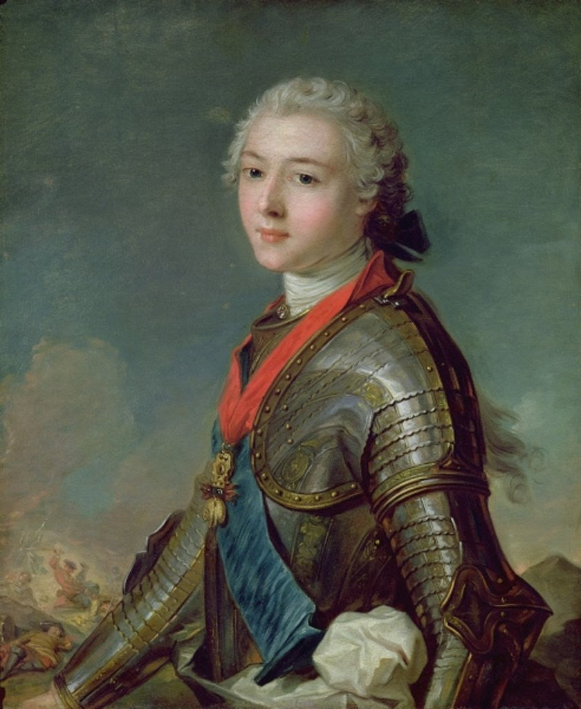 Detail of Louis Jean Marie de Bourbon Duke of Penthievre by Jean-Marc Nattier
